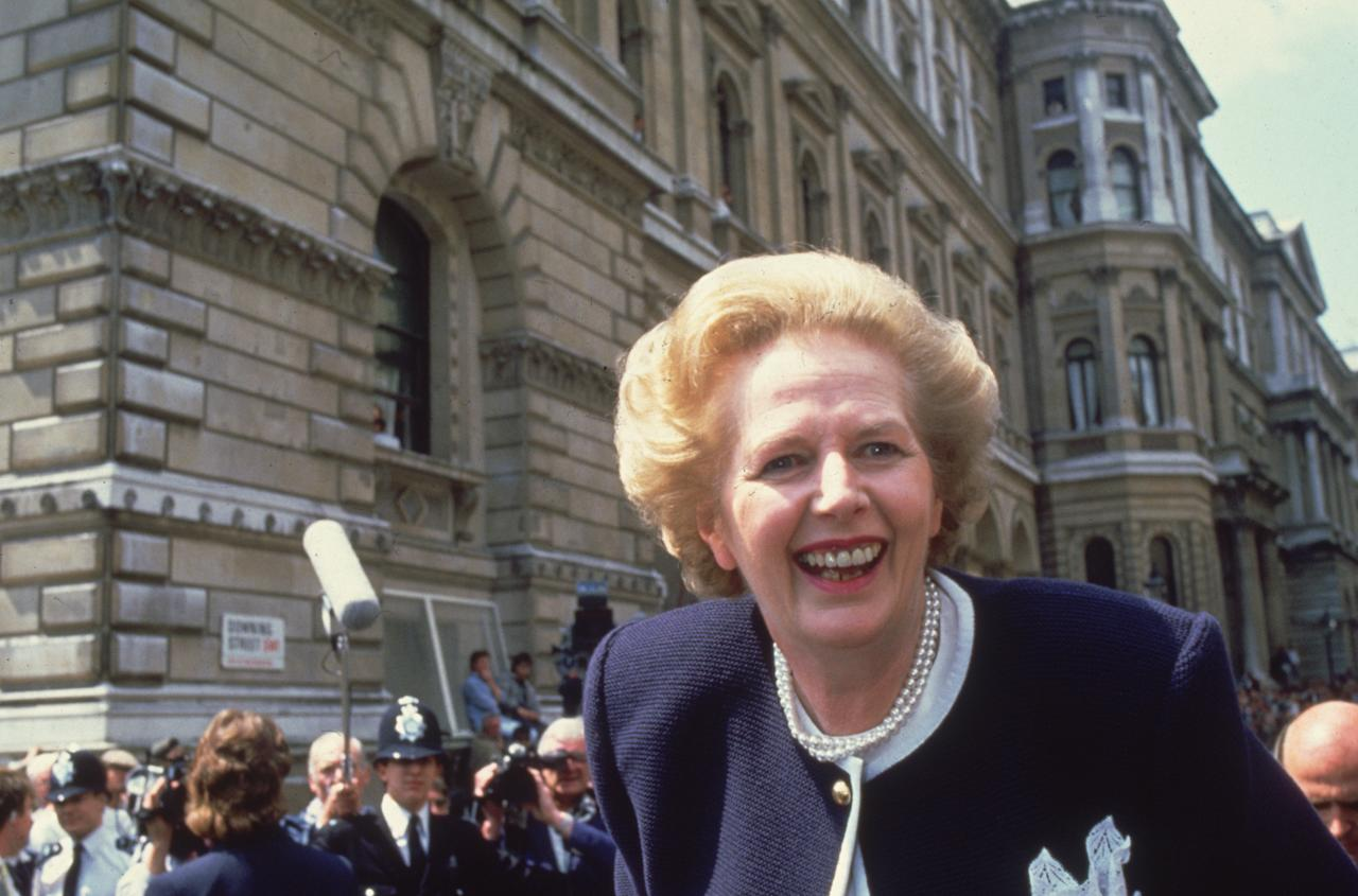 British prime minister Margaret Thatcher in Downing Street, London, at the start of her third term in office.   (Photo by Hulton Archive/Getty Images)