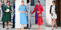 "<p>There's no denying it, Meghan Markle is a maternity style icon. From her vibrant midi dress and coat combos, often paired with elegant flats, to her utterly breathtaking, floaty evening gowns, the Duchess sure knows how to dress with a bump. </p><p>So when we heard that happy news that the Duke and Duchess of Sussex are <a href=""https://www.cosmopolitan.com/uk/reports/a35502000/meghan-markle-pregnant-second-baby/"" rel=""nofollow noopener"" target=""_blank"" data-ylk=""slk:expecting their second child"" class=""link rapid-noclick-resp"">expecting their second child</a> - which they announced with a laid back photoshoot featuring Harry in a linen-like shirt with relaxed trousers and Meghan wearing an <a href=""https://www.cosmopolitan.com/uk/fashion/celebrity/a35505889/meghan-markle-maternity-photo-dress/"" rel=""nofollow noopener"" target=""_blank"" data-ylk=""slk:incredible maxi dress"" class=""link rapid-noclick-resp"">incredible maxi dress</a> - we couldn't help ourselves from digging into the archives and taking a look at Meghan's very best pregnancy outfits to date.</p><p>Here, we take a look at the Duchess' most iconic maternity style moments so far.<br></p>"