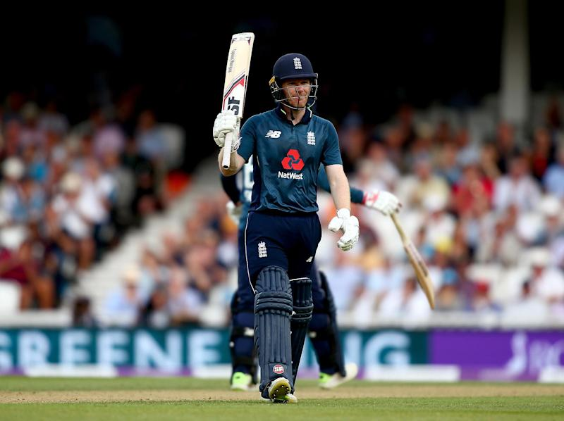 Eoin Morgan celebrates his 50 at the Oval: Getty Images