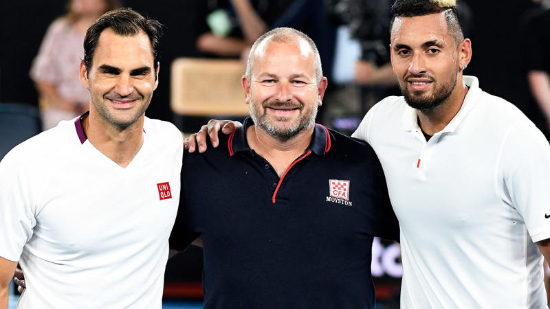 Roger Federer and Nick Kyrgios, pictured here with firefighter Alistair Mason at the Rally for Relief.