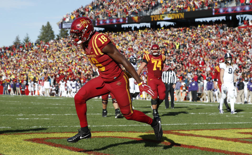 Iowa State wide receiver Hakeem Butler celebrates after catching a 4-yard touchdown pass during against TCU. (AP Photo)