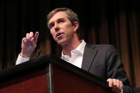 U.S. 2020 Democratic presidential candidate and former Representative Beto O'Rourke speaks at the 2019 National Action Network National Convention in New York, U.S., April 3, 2019. REUTERS/Shannon Stapleton