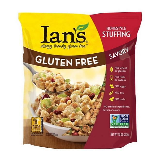 """<p>Perfect for a family full of food allergies or intolerances, <a rel=""""nofollow noopener"""" href=""""http://iansnaturalfoods.com/products/non-gmo-stuffing-savory/"""" target=""""_blank"""" data-ylk=""""slk:Ian's"""" class=""""link rapid-noclick-resp"""">Ian's</a> savory stuffing mix is gluten-, nut-, soy-, egg-, and milk-free. But a classic blend of herbs, including parsley, sage, rosemary, and thyme, keeps the flavor traditional and hearty.</p><p>Buy it <a rel=""""nofollow noopener"""" href=""""http://click.linksynergy.com/fs-bin/click?id=93xLBvPhAeE&subid=0&offerid=437821.1&type=10&tmpid=20263&RD_PARM1=https%3A%2F%2Fjet.com%2Fproduct%2Fdetail%2F44730285aaab4359ab395bfd41deef4c%3Fjcmp=pla%3Aggl%3Aa_nj_cons_gen_food_beverages_tobacco_a2_b1%3Afood_items_prepared_foods_prepared_appetizers_side_dishes_a2_other%3Ana%3APLA_648439113_39625226224_aud-155003204480%3Apla-156520660380%3Ana%3Ana%3Ana%3A2%2526code=PLA15%2526gclid=CMHcqf6RmtACFUG8NwodRZAPuQ%2526gclsrc=ds"""" target=""""_blank"""" data-ylk=""""slk:here"""" class=""""link rapid-noclick-resp"""">here</a> for $65/8 pack.</p>"""
