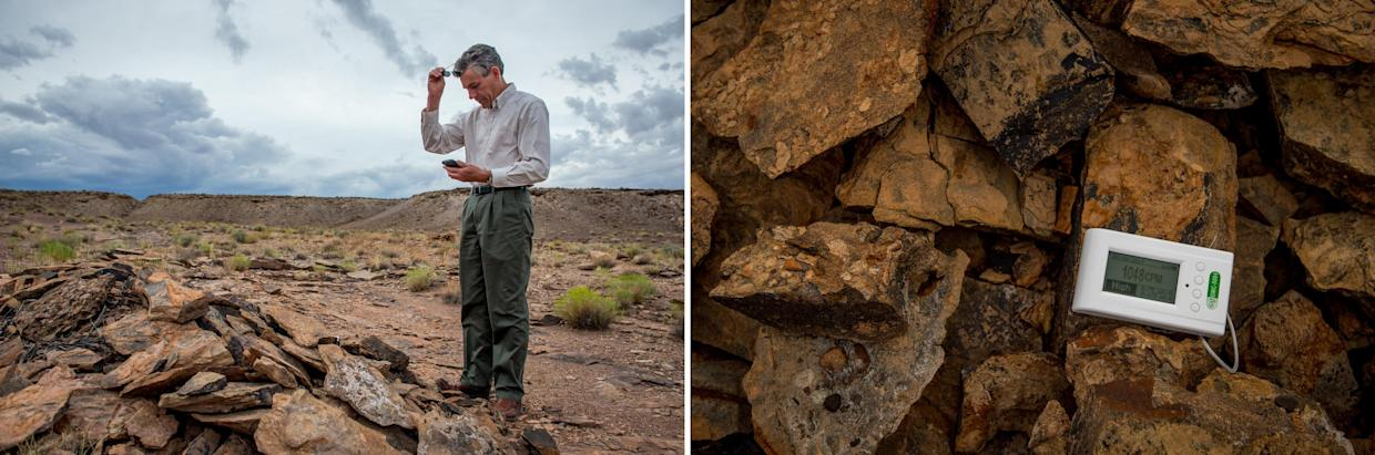 Dr. Frank Dalichow brings his Geiger counter to detect radiation in the surrounding soil and rock when he goes for walks near Tuba City. (Photographs by Mary F. Calvert)