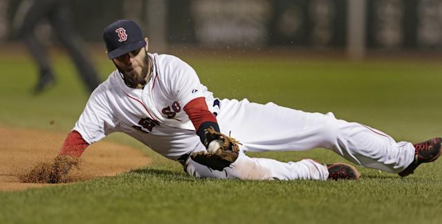 Boston Red Sox second baseman Dustin Pedroia fields a ground-out hit by New York Yankees' Jacoby Ellsbury during the fifth inning of a baseball game on Thursday, April 24, 2014, in Boston. (AP Photo/Charles Krupa)