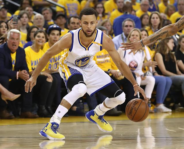"<a class=""link rapid-noclick-resp"" href=""/nba/players/4612/"" data-ylk=""slk:Stephen Curry"">Stephen Curry</a> has been a top-four fantasy player in each of the past five seasons. (Photo by Ezra Shaw/Getty Images)"