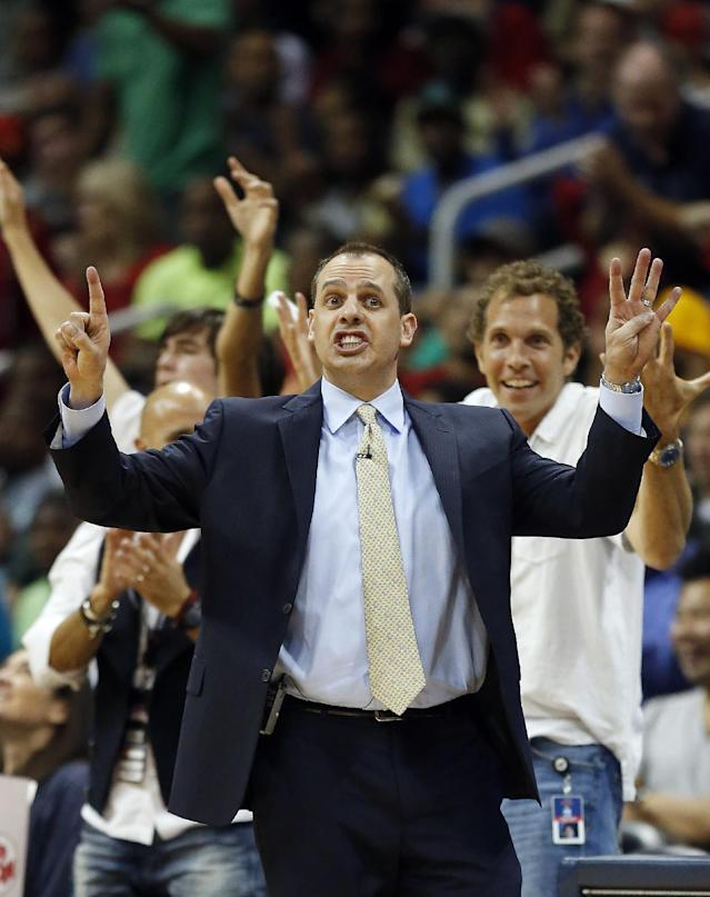 Indiana Pacers head coach Frank Vogel reacts on the sideline in the second half of Game 3 of an NBA basketball first-round playoff series against the Atlanta Hawks, Thursday, April 24, 2014, in Atlanta. The Hawks won 98-85. (AP Photo/John Bazemore)