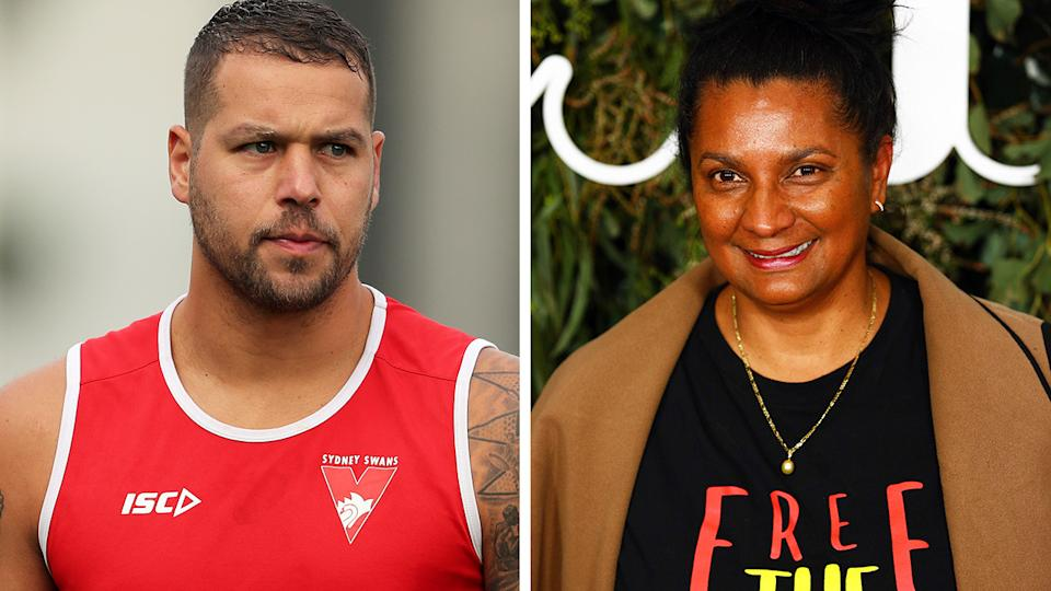 Nova Peris (pictured right) has hit out at Lance Franklin (pictured left) for his association with clothing company WAM Clothing. (Getty Images)