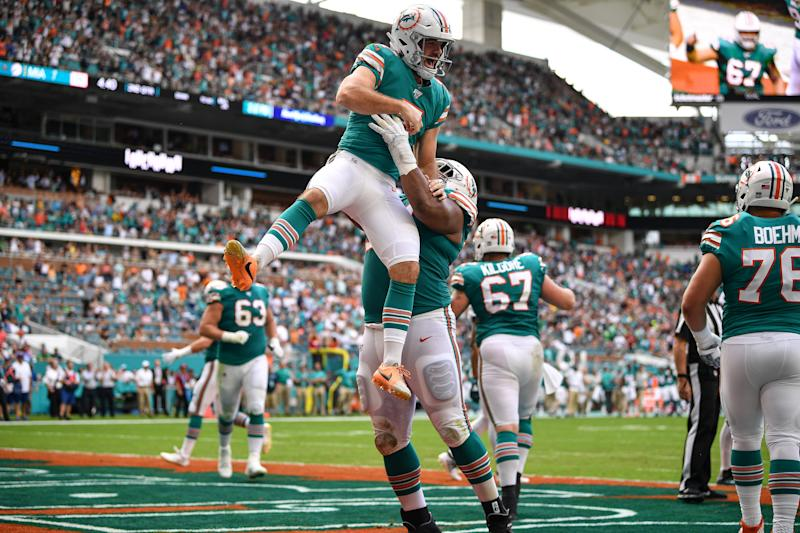 MIAMI, FLORIDA - DECEMBER 01: Jason Sanders #7 of the Miami Dolphins celebrates a touchdown pass from a fake field goal against the Philadelphia Eagles in the second quarter at Hard Rock Stadium on December 01, 2019 in Miami, Florida. (Photo by Mark Brown/Getty Images)