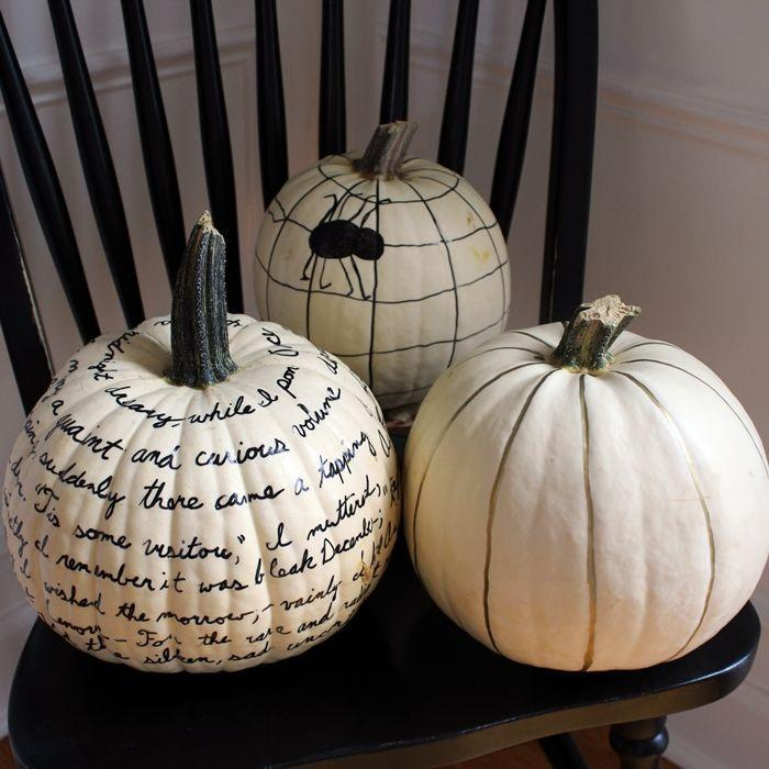 """<p>Yes, these pumpkins have been decorated with nothing more than an oil-based marker. Writing on the bumpy surface of a pumpkin takes a little patience, but it's worth it for the stylish end result.</p><p><strong>Get the tutorial at <a href=""""https://boxycolonial.com/pumpkin-parade-sharpie-pumpkins/"""" rel=""""nofollow noopener"""" target=""""_blank"""" data-ylk=""""slk:Boxy Colonial"""" class=""""link rapid-noclick-resp"""">Boxy Colonial</a>.</strong></p><p><strong><strong><strong><strong><strong><strong><a class=""""link rapid-noclick-resp"""" href=""""https://go.redirectingat.com?id=74968X1596630&url=https%3A%2F%2Fwww.walmart.com%2Fsearch%2F%3Fquery%3Doil%2Bbased%2Bsharpies&sref=https%3A%2F%2Fwww.thepioneerwoman.com%2Fhome-lifestyle%2Fdecorating-ideas%2Fg36664123%2Fwhite-pumpkin-decor-ideas%2F"""" rel=""""nofollow noopener"""" target=""""_blank"""" data-ylk=""""slk:SHOP OIL-BASED SHARPIES"""">SHOP OIL-BASED SHARPIES</a></strong></strong></strong></strong></strong><br></strong></p>"""