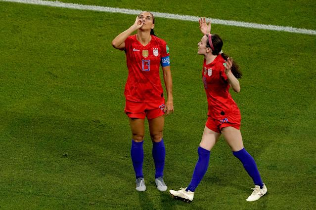 (L-R) Alex Morgan of USA Women, Rose Lavelle of USA Women celebrates 1-2 during the World Cup Women match between England v USA at the Stade de Lyon on July 2, 2019 in Lyon, France. (Photo by Geert van Erven/Soccrates/Getty Images)