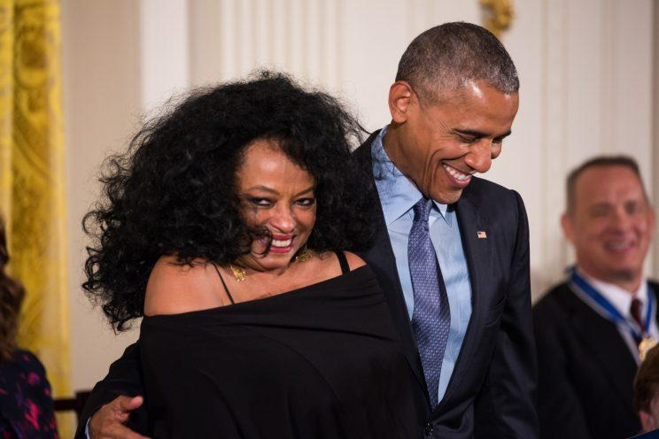 Ross being honored with the Presidential Freedom award with President Obama. (Photo by Getty Images)