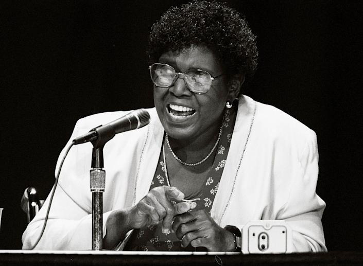 Barbara Jordan, chair of the Commission on Immigration Reform, speaks at the United We Stand America National Conference on Aug. 12, 1995.