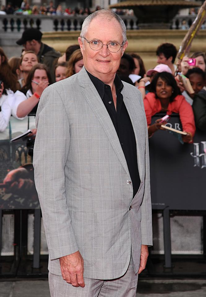 "<a href=""http://movies.yahoo.com/movie/contributor/1800023075"">Jim Broadbent</a> at the London world premiere of <a href=""http://movies.yahoo.com/movie/1810004624/info"">Harry Potter and the Deathly Hallows - Part 2</a> on July 7, 2011."