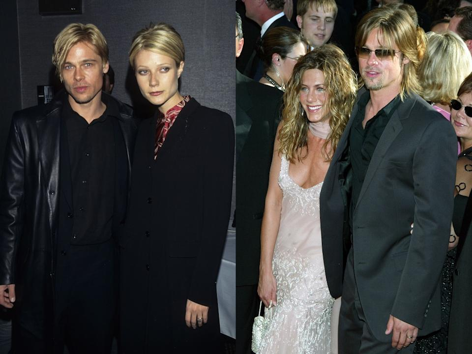 Brad Pitt with Gwyneth Paltrow on the left and Jennifer Aniston on the right