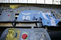 A Diego Maradona shirt is draped over a seat at Signal Iduna Park Stadium before Dortmund's home defeat to Cologne