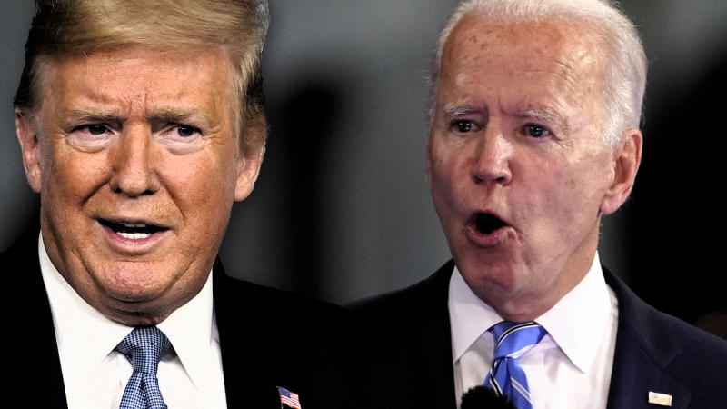 President Trump and Joe Biden. (Photo illustration: Yahoo News; photos: AP, Andrew Harnik/AP)