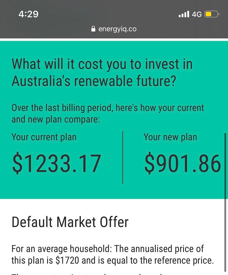 A screenshot of EnergyIQ showing how much Teresa Quinn saved from switching electricity provider.