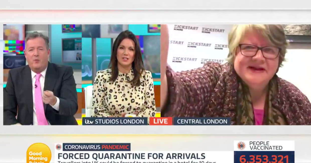Work and pensions secretary Therese Coffey, right, had been engaged in a heated interview with Good Morning Britain's Piers Morgan and Susanna Reid. (ITV)