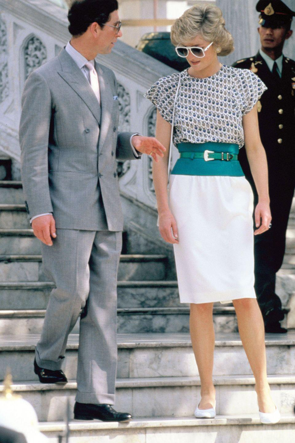 <p>In a white skirt and patterned top paired with white aviators during the official visit to Bangkok, Thailand. </p>
