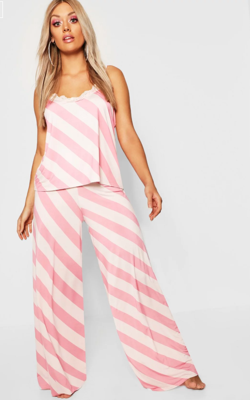 Pink and white striped cami and matching pyjama pants