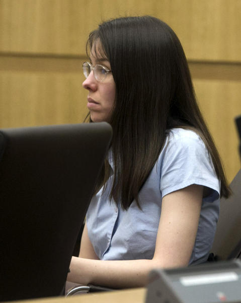 Jodi Arias appears for her trial in Maricopa County court Tuesday, Jan. 8, 2013, in Phoenix. Arias is charged with murder in the death of her boyfriend, Travis Alexander, and prosecution is seeking the death penalty. (AP Photo/The Arizona Republic, David Wallace)