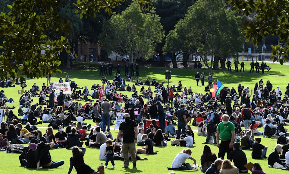 Protesters wearing face masks gather in the Domain on July 05, 2020 in Sydney, Australia.
