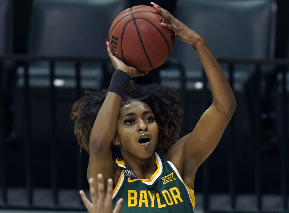 Baylor 's DiDi Richards (2) shoots during the first half of an NCAA women's college basketball game Tuesday, Dec. 1, 2020, in Tampa, Fla. (AP Photo/Chris O'Meara)