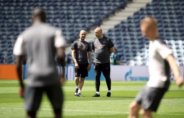 Guardiola and his squad have trained at the Estadio do Dragao ahead of the Champions League final