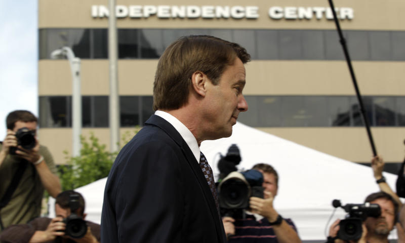 John Edwards arrives at a federal courthouse for his trial on charges of campaign corruption in Greensboro, N.C., Wednesday, May 16, 2012. Edwards has pleaded not guilty to six counts related to campaign finance violations over nearly $1 million from two wealthy donors used to help hide the Democrat's pregnant mistress as he sought the White House in 2008. (AP Photo/Chuck Burton)