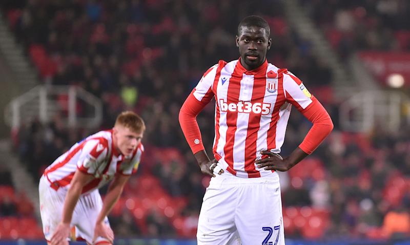 STOKE ON TRENT, ENGLAND - NOVEMBER 04: Papa Alioune Ndiaye of Stoke City look deject during the Sky Bet Championship match between Stoke City and West Bromwich Albion at Bet365 Stadium on November 04, 2019 in Stoke on Trent, England. (Photo by Nathan Stirk/Getty Images)