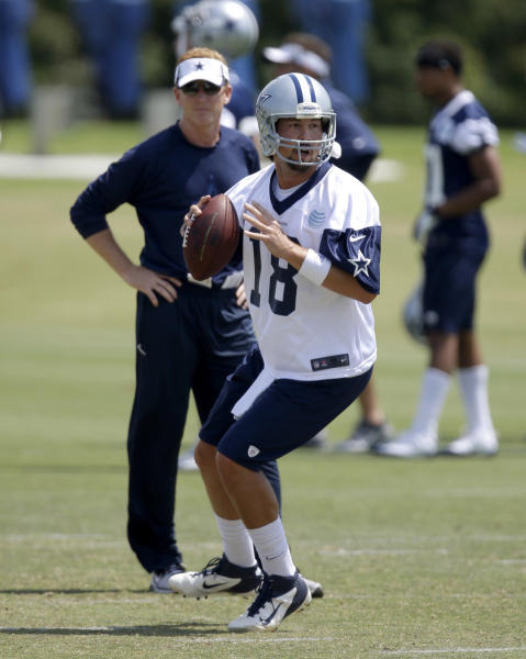 Dallas Cowboys quarterback Kyle Orton (18) prepares to pass as coach Jason Garrett, rear, watches the NFL football team practice Tuesday, June 4, 2013, in Irving, Texas. (AP Photo/Tony Gutierrez)