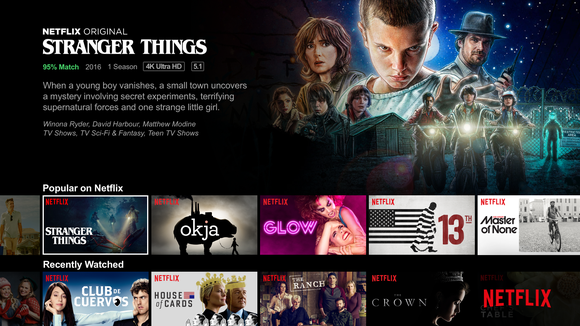 "The Netflix menu featuring ""Stranger Things"""