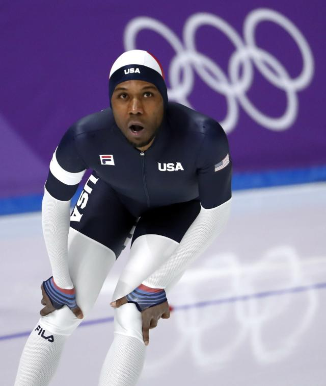 Speed Skating - Pyeongchang 2018 Winter Olympics - Men's 1000m competition finals - Gangneung Oval - Gangneung, South Korea - February 23, 2018 - Shani Davis of the U.S. reacts after his race. REUTERS/Damir Sagolj