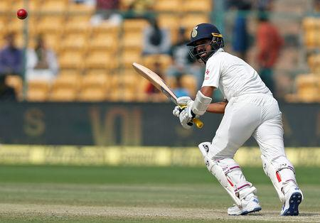 India v Australia - Second Test cricket match - M Chinnaswamy Stadium, Bengaluru, India - 06/03/17 - India's Ajinkya Rahane plays a shot. REUTERS/Danish Siddiqui