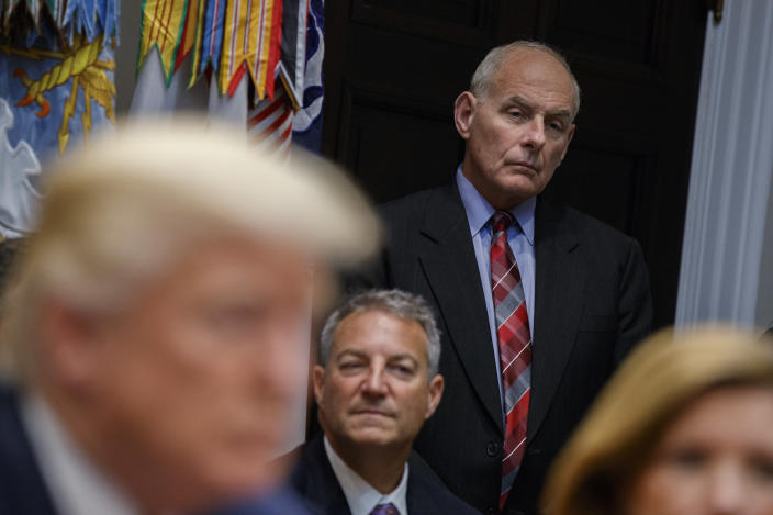 White House chief of staff John Kelly listens as President Trump speaks during a meeting on tax policy with business leaders in the Roosevelt Room of the White House, Oct. 31, 2017, in Washington. In his three months on the job, Kelly has been credited with bringing order to a chaotic West Wing, but don't call him a moderate. (Photo: Evan Vucci/AP)