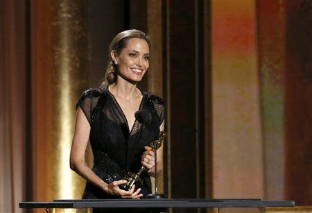 Actress Jolie accepts the Jean Hersholt Humanitarian Award at the Annual Academy of Motion Picture Arts and Sciences Governors Awards in Hollywood