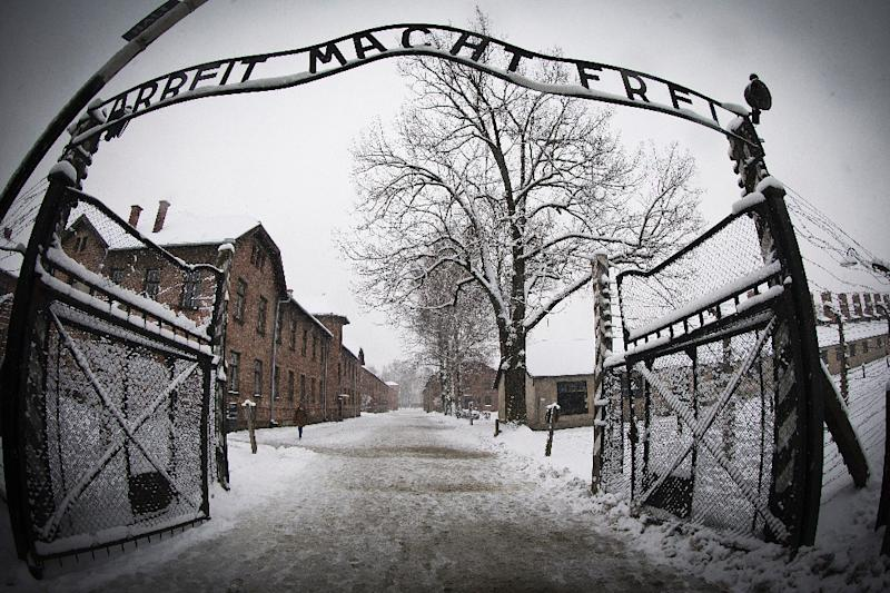 (FILES) This file photo taken on January 25, 2015 in Oswiecim shows the entrance to the former Nazi concentration camp Auschwitz-Birkenau with the lettering 'Arbeit macht frei' ('Work makes you free')