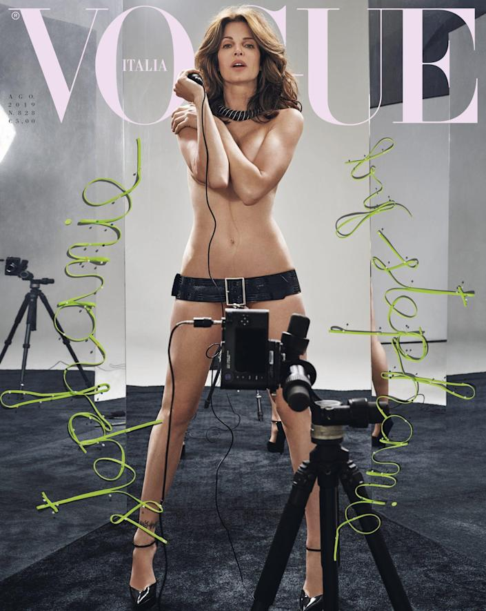 """<p>The supermodel landed the <a href=""""https://www.vogue.it/moda/article/stephanie-seymour-cover-vogue-italia-agosto"""" rel=""""nofollow noopener"""" target=""""_blank"""" data-ylk=""""slk:Vogue Italia's August 2019 issue"""" class=""""link rapid-noclick-resp""""><em>Vogue Italia'</em>s August 2019 issue</a> alongside fellow '90s icon Claudia Schiffer for which they each took their own selfies — while nearly naked. Seymour <a href=""""https://people.com/style/claudia-schiffer-stephanie-seymour-pose-nude-vogue-italia-cover/"""" rel=""""nofollow noopener"""" target=""""_blank"""" data-ylk=""""slk:posed"""" class=""""link rapid-noclick-resp"""">posed</a> nude in one photo, wearing only a necklace and black belt while a camera tripod was strategically-placed to cover her nether regions. In the second pic, she donned a feathery green coat with black dotted tights, while striking a dramatic pose.</p>"""