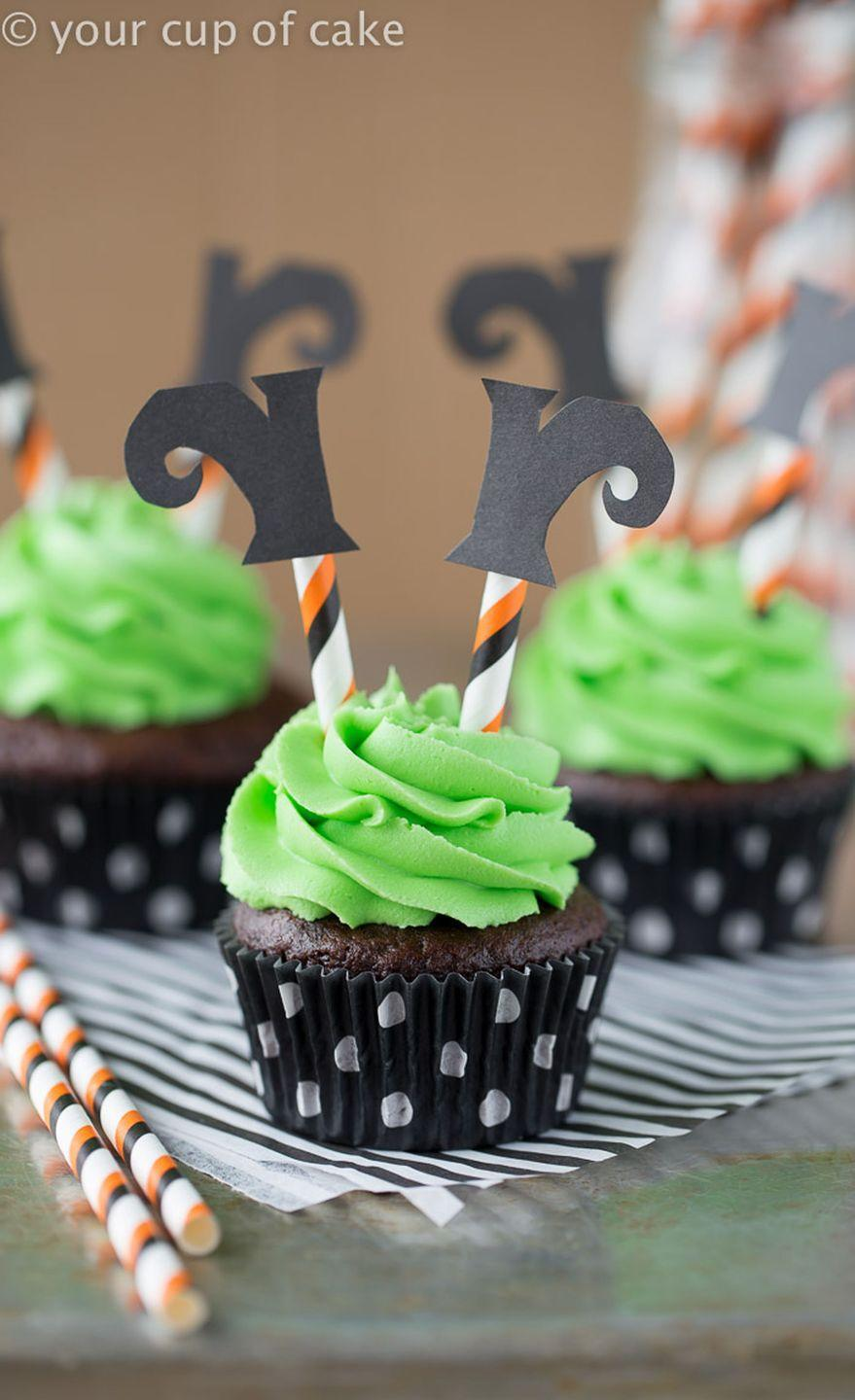 """<p>Turn your taste buds upside-down with these wickedly cute confections.<br></p><p><strong>Get the recipe at <a href=""""http://www.yourcupofcake.com/2015/10/wicked-witch-cupcakes.html"""" rel=""""nofollow noopener"""" target=""""_blank"""" data-ylk=""""slk:Your Cup of Cake"""" class=""""link rapid-noclick-resp"""">Your Cup of Cake</a>.</strong></p><p><a class=""""link rapid-noclick-resp"""" href=""""https://www.amazon.com/Hamilton-Beach-62682RZ-Mixer-Snap/dp/B001CH0ZLE?tag=syn-yahoo-20&ascsubtag=%5Bartid%7C10050.g.1366%5Bsrc%7Cyahoo-us"""" rel=""""nofollow noopener"""" target=""""_blank"""" data-ylk=""""slk:SHOP HAND MIXERS"""">SHOP HAND MIXERS</a></p>"""