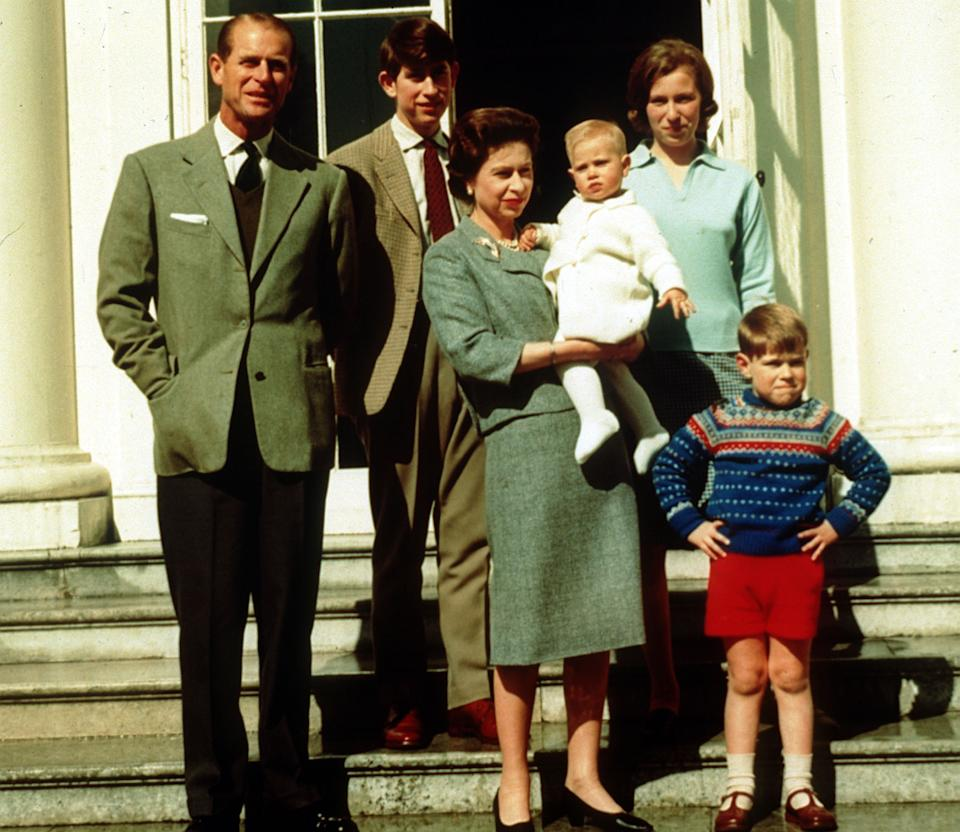 File photo dated 21/04/65 of the Duke of Edinburgh (left) with Queen Elizabeth II holding Prince Edward, surrounded by their family (right to left) Prince Andrew, Princess Anne and Prince Charles, on Queen Elizabeth II's 39th birthday. The Duke of Edinburgh has died, Buckingham Palace has announced. Issue date: Friday April 9, 2020.. See PA story DEATH Philip. Photo credit should read: PA Wire