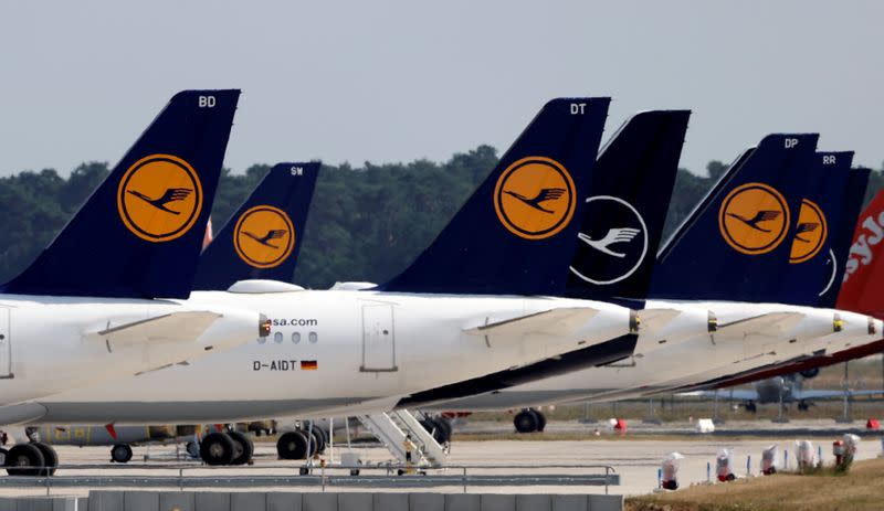 FILE PHOTO: Lufthansa planes parked at the Berlin Schoenefeld airport