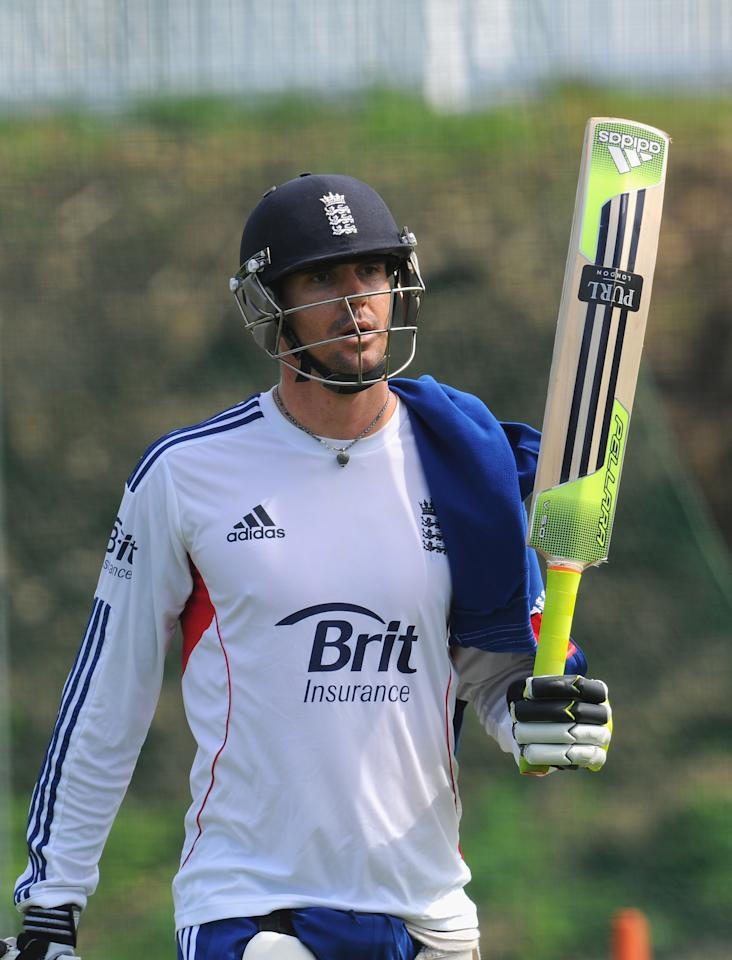 CHESTER-LE-STREET, ENGLAND - AUGUST 07:  England batsman Kevin Pietersen leaves the nets after his session of batting during England practice at Emirates Durham ICG on August 7, 2013 in Chester-le-Street, England.  (Photo by Stu Forster/Getty Images)