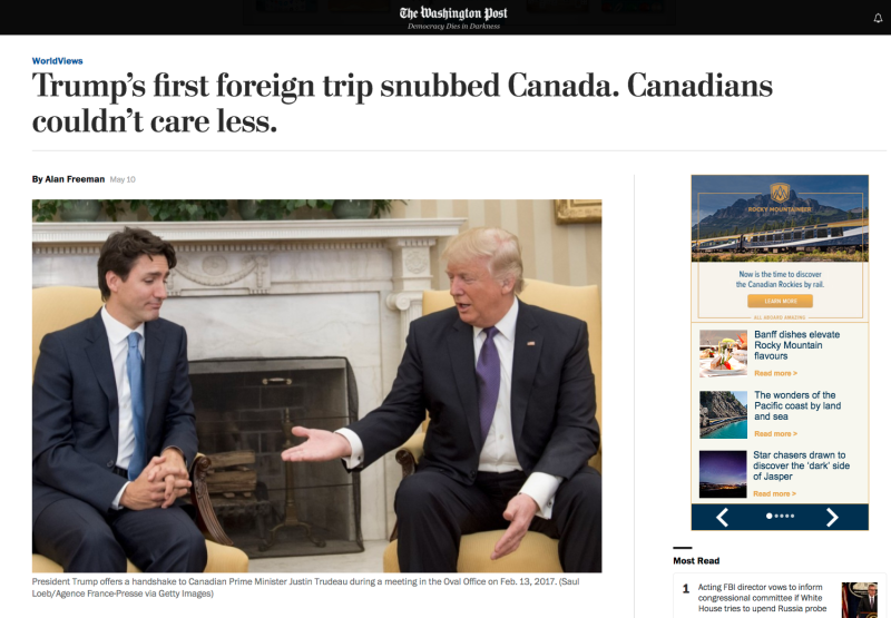 Coverage of Trump's alleged Canada snub in the American press. Screenshot of Washington Post news article