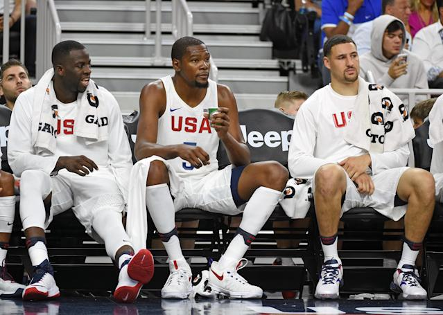 Draymond Green (left) and Klay Thompson (right) both helped recruit Kevin Durant. (Getty Images)