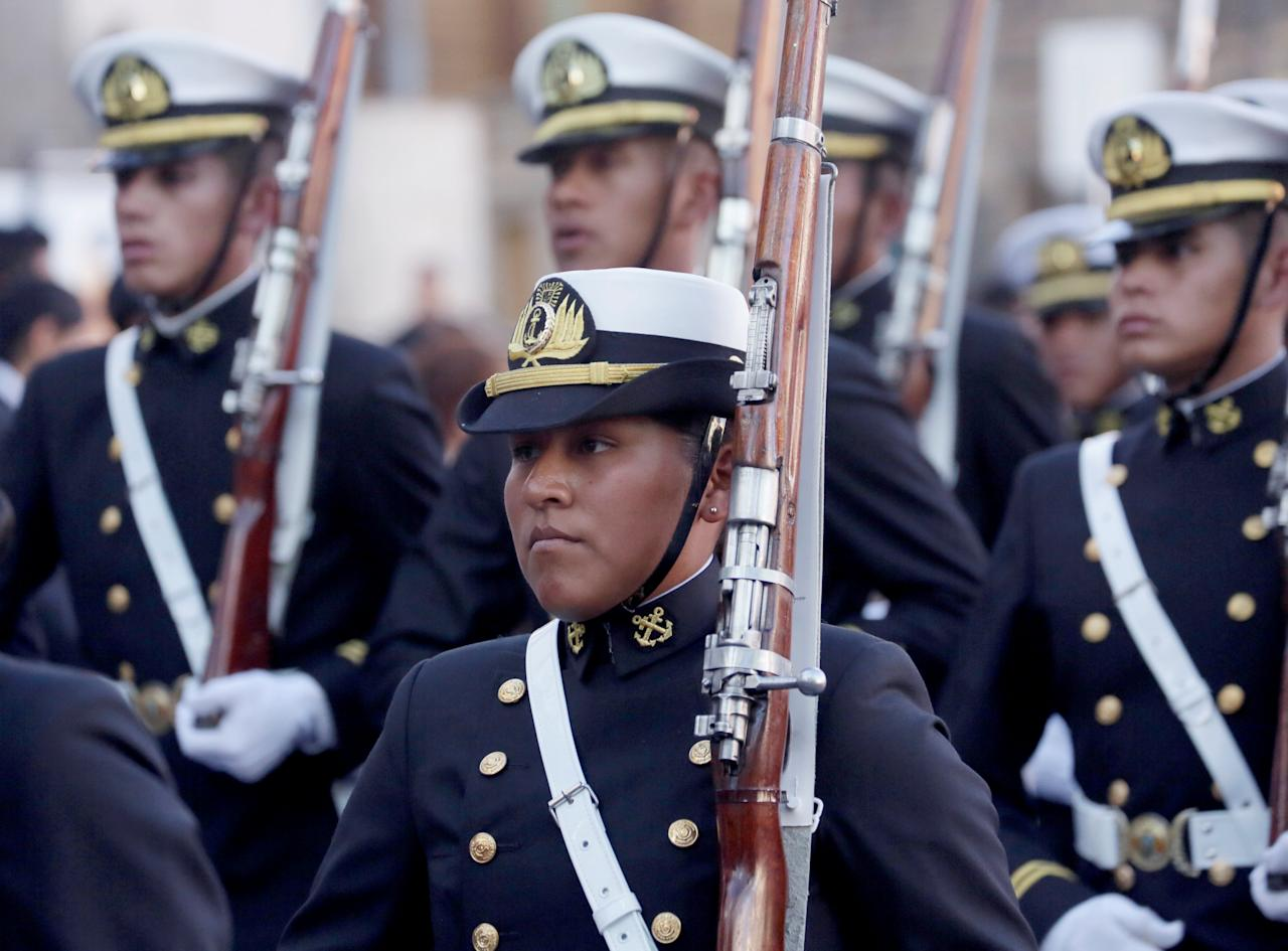 Navy cadets attend a parade before Sea Day commemorations in La Paz, Bolivia, March 22, 2018. REUTERS/David Mercado