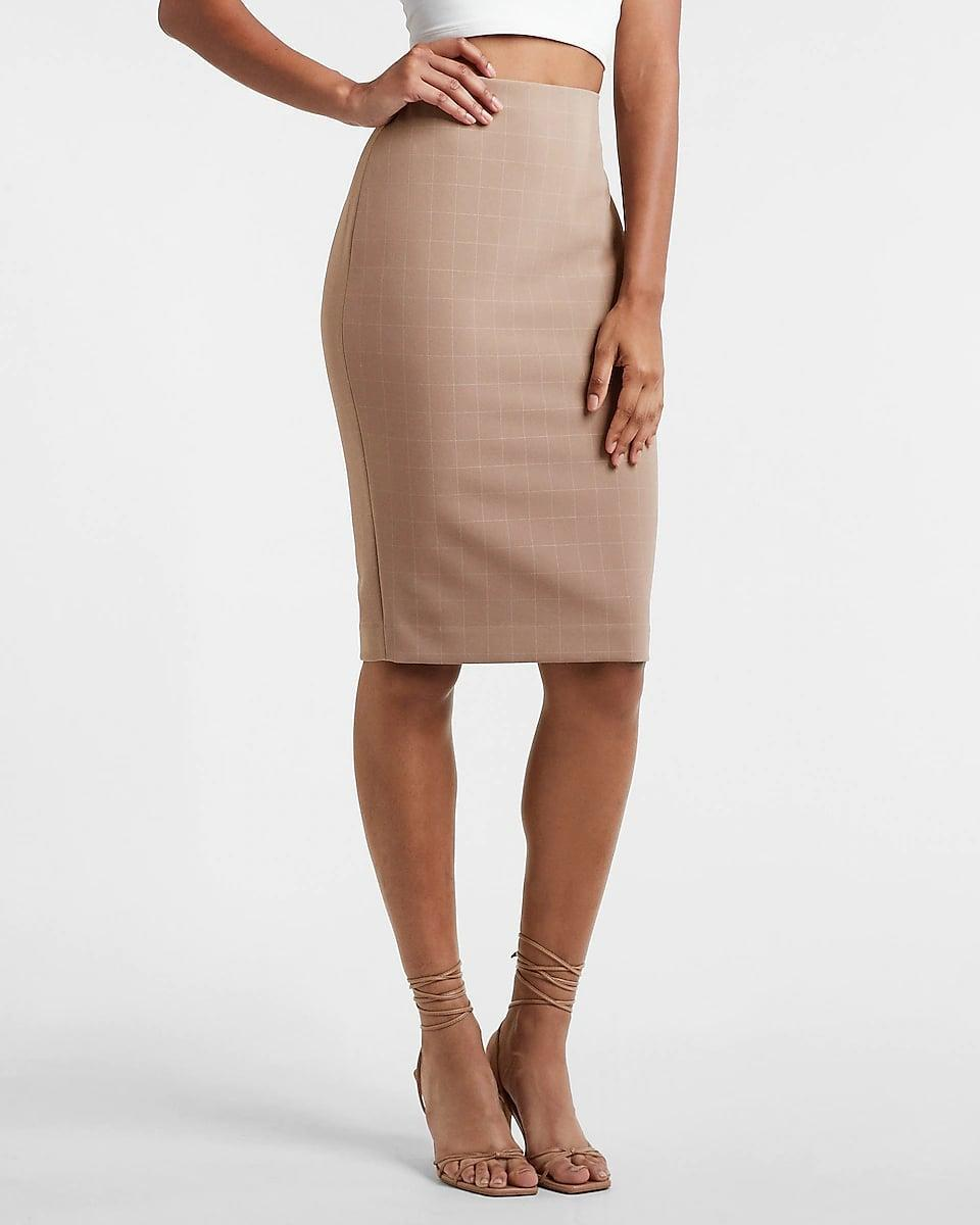 <p>If you work in a traditional office with a strict dress code, this <span>Express High Waisted Plaid Midi Pencil Skirt</span> ($68) is a stylish way to still show some personality with what you wear. Finish off the look with a blouse and a blazer for the ultimate business suit.</p>