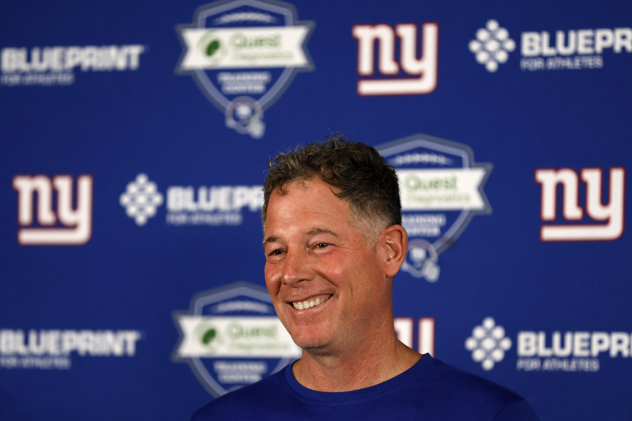 New York Giants head coach Pat Shurmur speaks to the media after an NFL football practice Monday, May 20, 2019, in East Rutherford, N.J. (AP Photo/Adam Hunger)