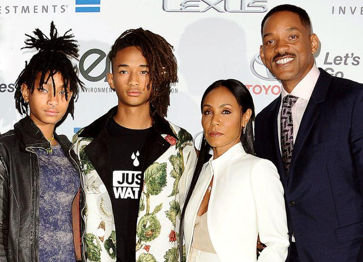 Willow Smith, Jaden Smith, Jada Pinkett Smith and Will Smith attend the 26th annual EMA Awards at Warner Bros. Studios.