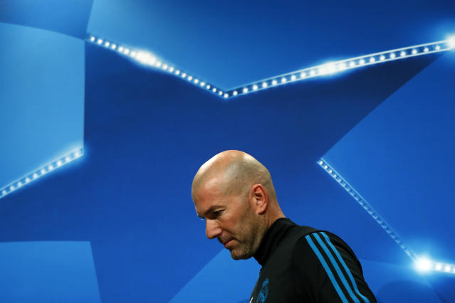 Real Madrid's head coach Zinedine Zidane arrives for a news conference in Munich, Germany, Tuesday, April 24, 2018. FC Bayern Munich will face Real Madrid for a Champions League semi final first leg soccer match in Munich on Wednesday, April 25, 2018. (AP Photo/Matthias Schrader)